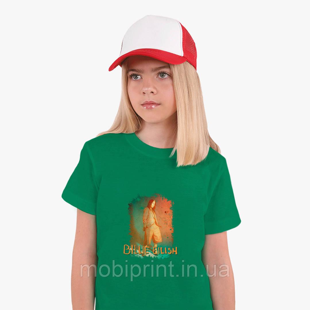 Детская футболка для девочек Билли Айлиш (Billie Eilish) (25186-1209) Зеленый