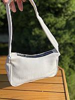 Женская сумочка лодочка из крокодила в белом цвете, фото 3