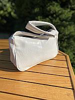 Женская сумочка лодочка из крокодила в белом цвете, фото 4