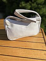 Женская сумочка лодочка из крокодила в белом цвете, фото 6