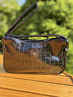 Женская сумочка лодочка из крокодила в черном цвете, фото 6