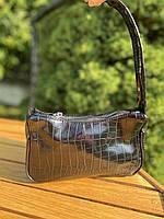 Женская сумочка лодочка из крокодила в черном цвете, фото 5