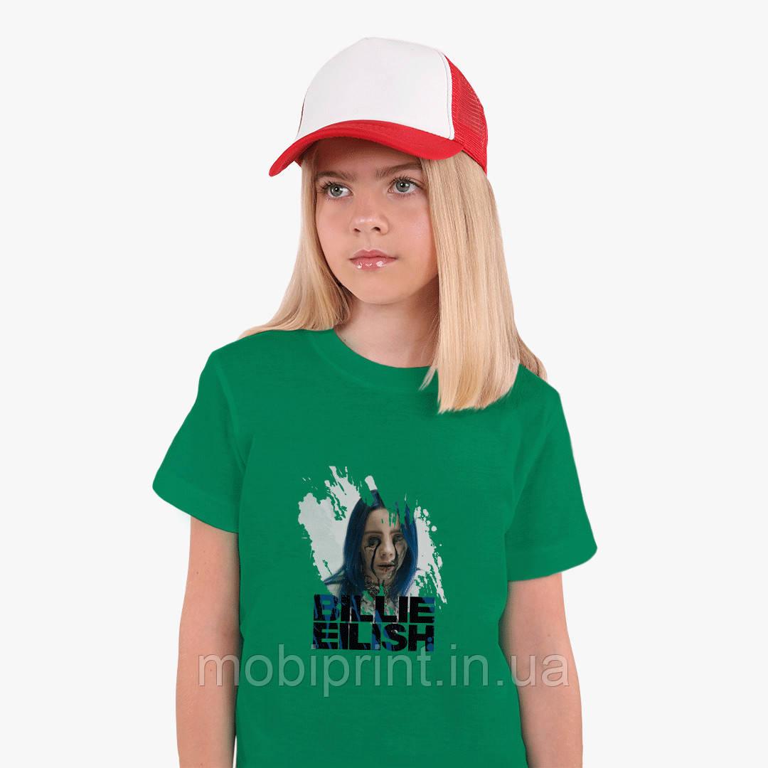 Детская футболка для девочек Билли Айлиш (Billie Eilish) (25186-1210) Зеленый