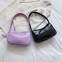 Женская сумочка лодочка из крокодила в черном цвете, фото 7