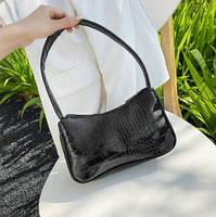 Женская сумочка лодочка из крокодила в черном цвете, фото 2