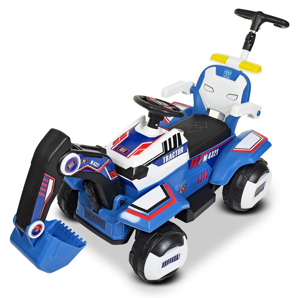 Трактор M 4321LR-4-1 (1шт) р/у2,4G,2мотора35W,1аккум6V7AH, муз,свет,MP3,USB, кож.сид, сине-белый
