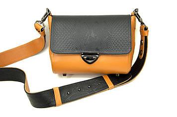 Сумка кожаная женская на широком ремешке. Цвет черный/оранжевый. Производство Украина