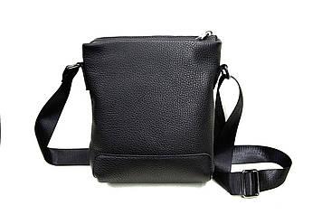Мужская черная сумка ручной роботы. Натуральная кожа флотар. Производство Украина