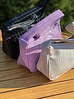 Жіноча сумочка човник з крокодила в лавандовом кольорі, фото 4