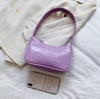 Жіноча сумочка човник з крокодила в лавандовом кольорі, фото 2