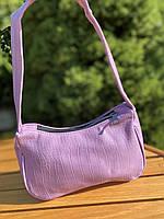 Жіноча сумочка човник з крокодила в лавандовом кольорі, фото 8