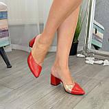 Мюли кожаные красные на устойчивом каблуке. 39 размер, фото 3