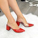 Мюли кожаные красные на устойчивом каблуке. 39 размер, фото 4