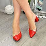 Мюли кожаные красные на устойчивом каблуке. 39 размер, фото 5
