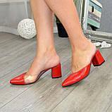 Мюли кожаные красные на устойчивом каблуке. 39 размер, фото 6