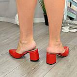Мюли кожаные красные на устойчивом каблуке. 39 размер, фото 7