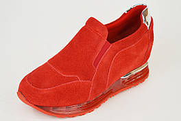 Слипоны женские замшевые красные Lonza 22-5