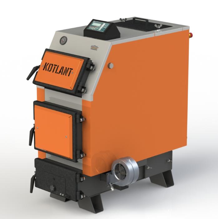 Твердотопливный котел Kotlant КВУ 40 кВт с электронной автоматикой и вентилятор