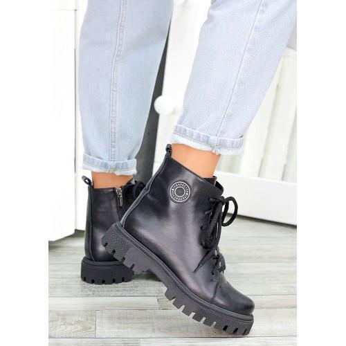 Женские ботинки трапперы черная кожа 7462-28