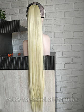 Хвост накладной на ленте цвет блонд  613 с желтинкой85см, фото 2