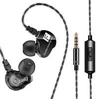 Спортивная гарнитура FONGE F4 Black проводная разъем 3.5mm наушники с микрофоном для смартфона