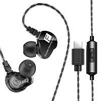 Спортивная гарнитура FONGE F4 Black проводная разъем Type-C наушники с микрофоном для смартфона