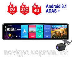 Навигатор с видеорегистратором. Автопланшет зеркало Terra V26 4G, ADAS +, Android 8.1