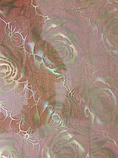 М'яке скло Скатертину з лазерним малюнком для меблів Soft Glass 1.0х0.8м товщина 1.5 мм Золотисті троянди, фото 3