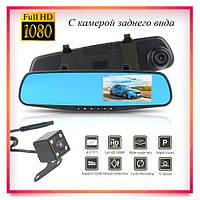 Автомобильное зеркало видеорегистратор для машины 2 камеры VEHICLE BLACKBOX DVR 1080p с камерой заднего вида