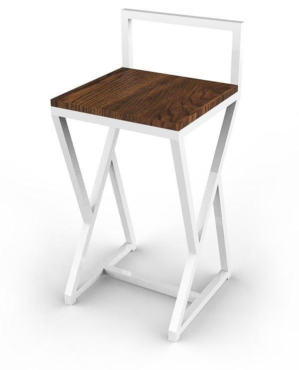 Белый стул для бара из металла и натурального дерева