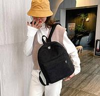 Оригінальний вельветовий жіночий рюкзак Чорний, фото 3