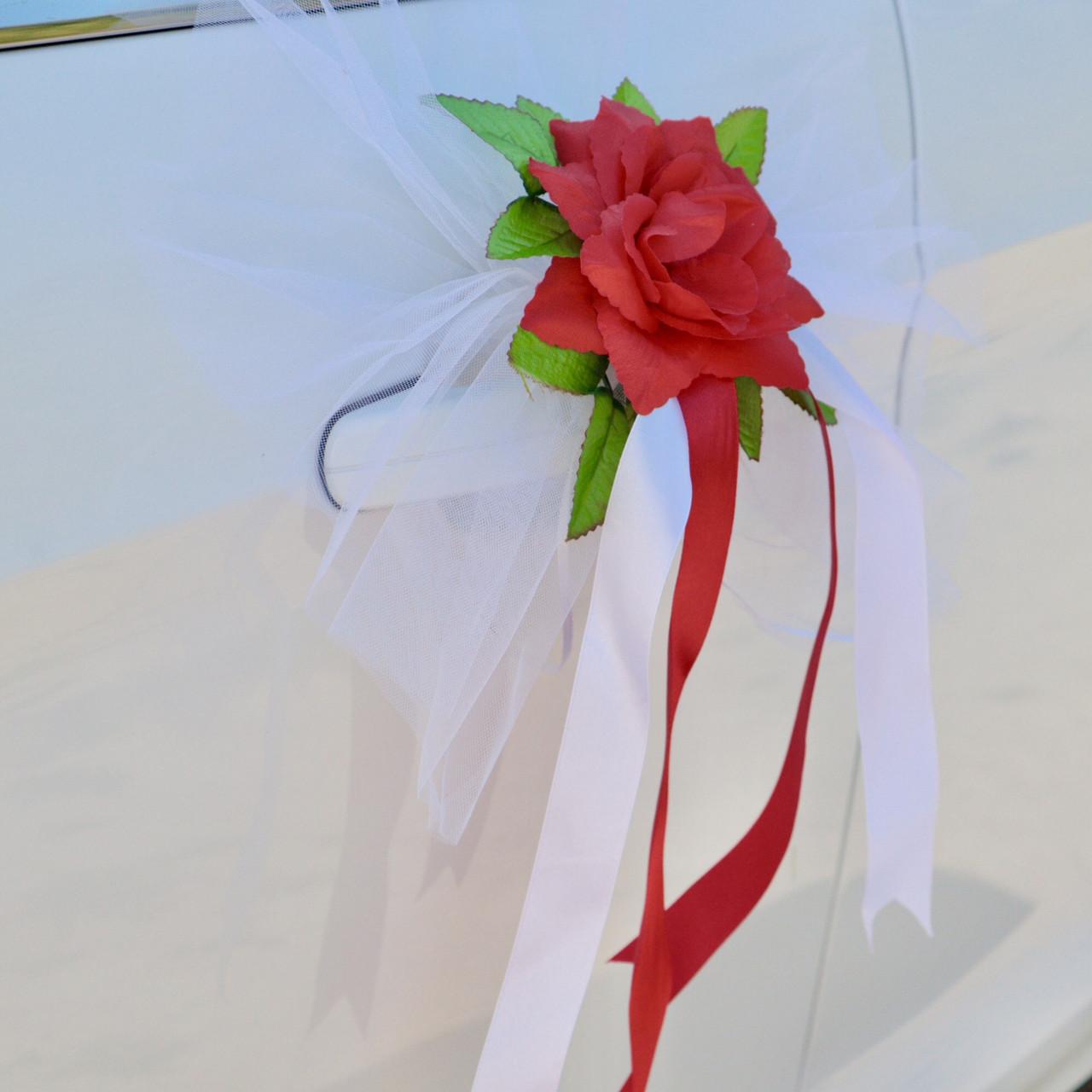 Вау! Цветы на Ручки Свадебной машины 4 шт/уп розы с лентами, Красный