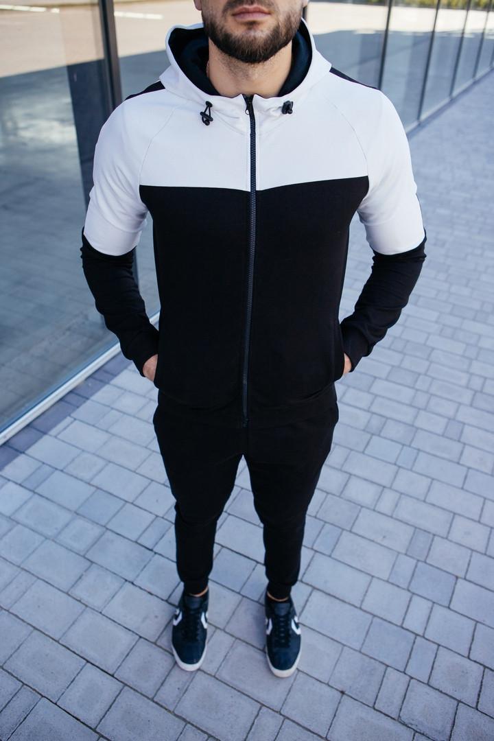 Мужской спортивный костюм черного цвета. Спортивные штаны + олимпийка на молнии с капюшоном. ТОП качество!!!