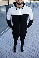 Мужской спортивный костюм черного цвета. Спортивные штаны + олимпийка на молнии с капюшоном. ТОП качество!!!, фото 1