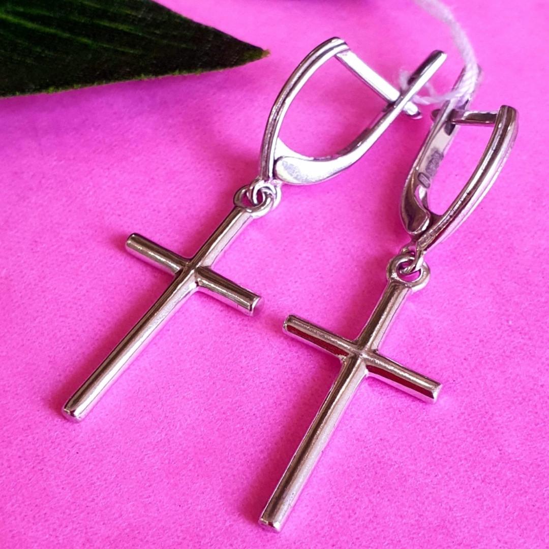 Серебряные серьги крест без камней
