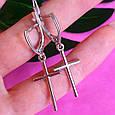 Серебряные серьги крест без камней, фото 3