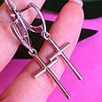 Серебряные серьги крест без камней, фото 2