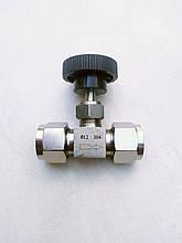 Кран нержавеющий игольчатый 12 мм, обжимной AISI 304