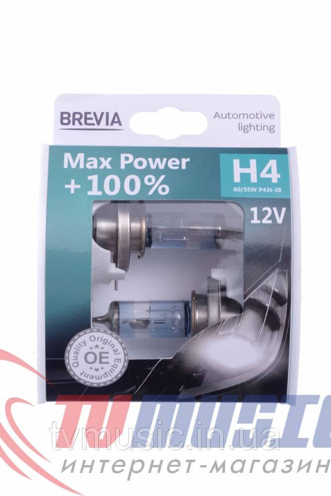 Комплект галогенных ламп Brevia Max Power +100% H4 (12040MPS)