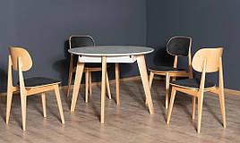 Обідній стіл в скандинавському стилі Марс розкладний PRESTOL, колір дуб + сірий