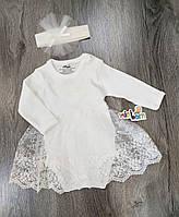 Детский нарядный боди с повязкой длинный рукав для девочки размер 68 на 6 месяцев Турция