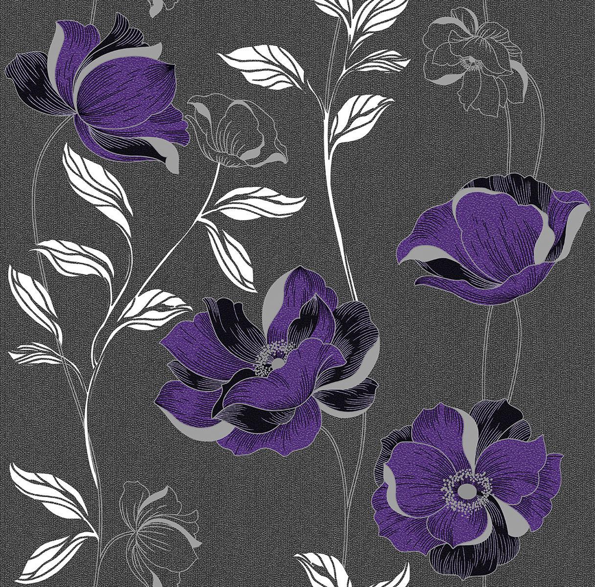 Обои бумажные Континент Есения сиреневые цветы серебро темно-серый фон 1275