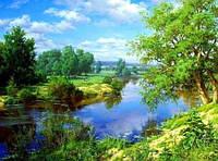 Алмазная вышивка пейзаж, природа 30х40 см, квадратные стразы, полная выкладка, фото 1