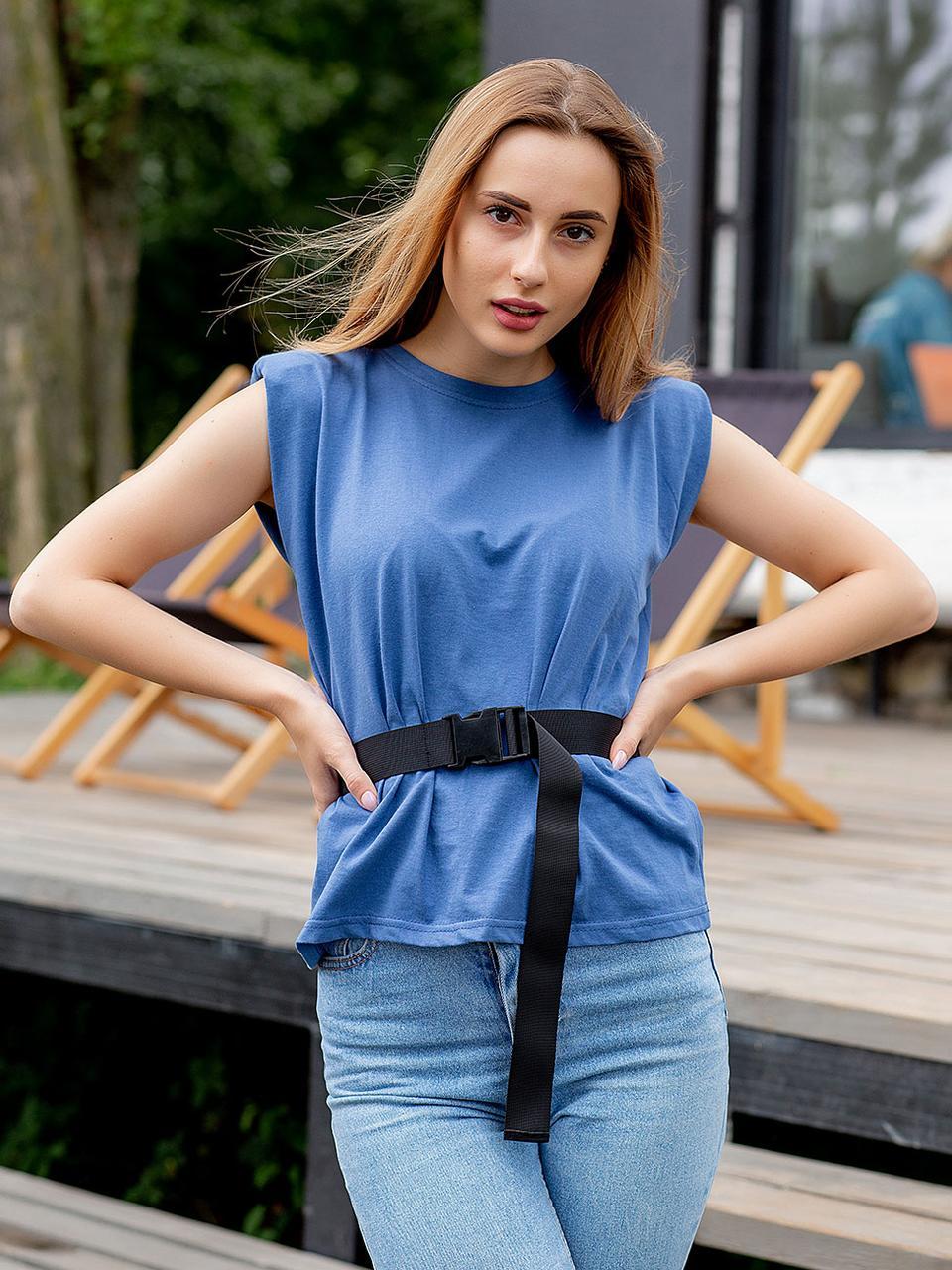 Молодежная прямая футболка цвета джинс с коротким рукавом S,M,L