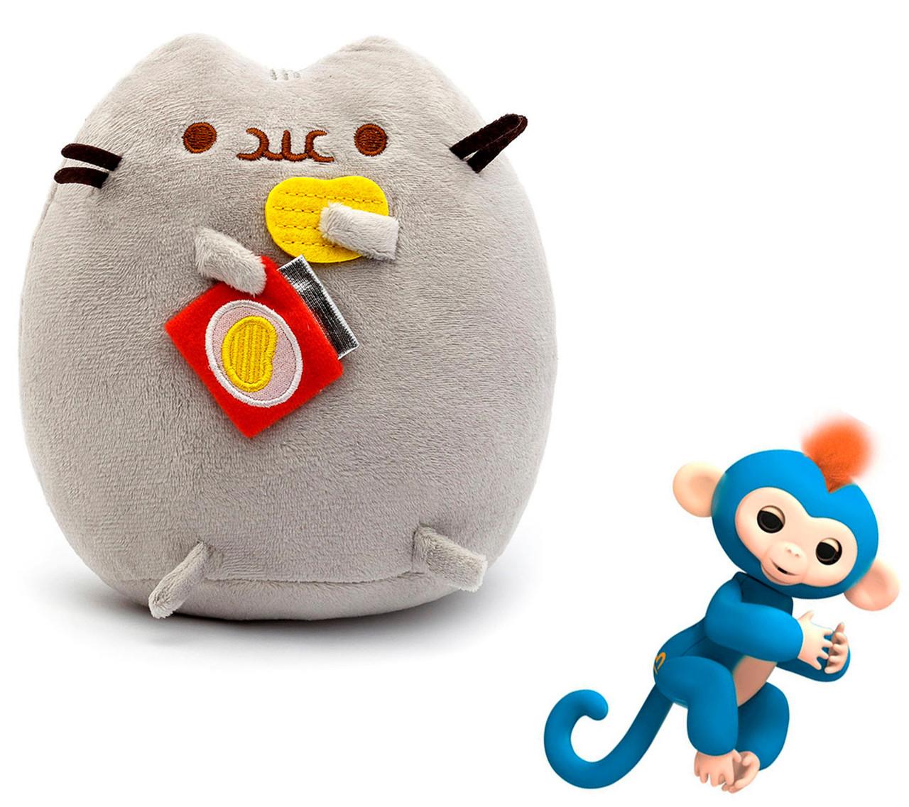 Комплект Мягкая игрушка кот с чипсами Pusheen cat и Игрушка интерактивная Happy Monkey (vol-661)