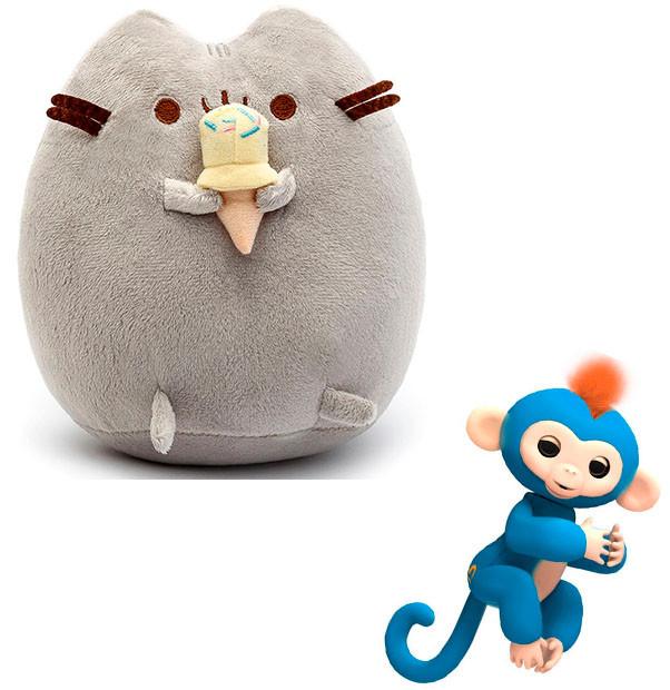 Комплект Мягкая игрушка кот с мороженым Pusheen cat и Игрушка интерактивная Happy Monkey (vol-663)