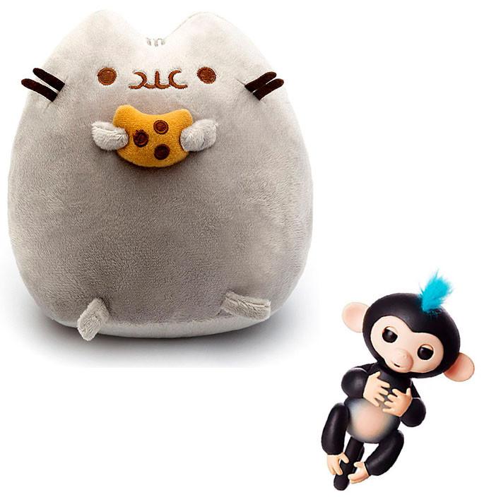 Комплект Мягкая игрушка кот с печеньем Pusheen cat и Игрушка интерактивная Happy Monkey (vol-664)