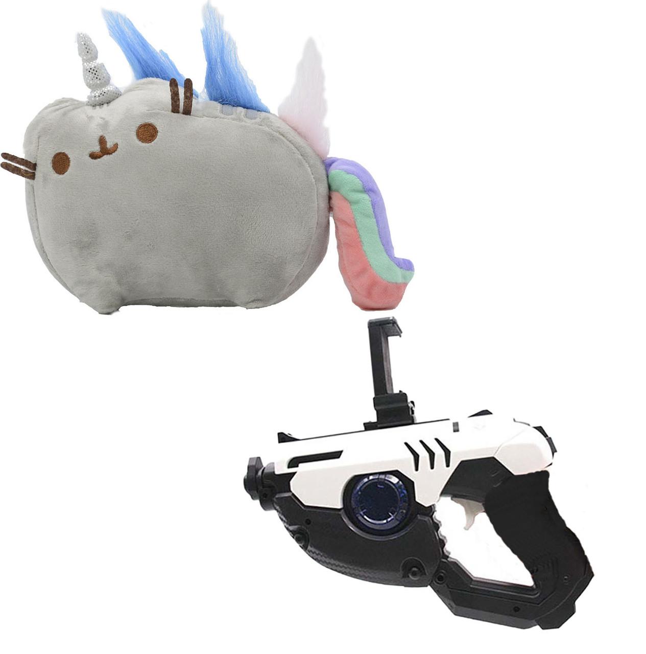 Комплект Мягкая игрушка кот-единорог радуга Pusheen cat и Пистолет дополненной реальности Белый (vol-668)