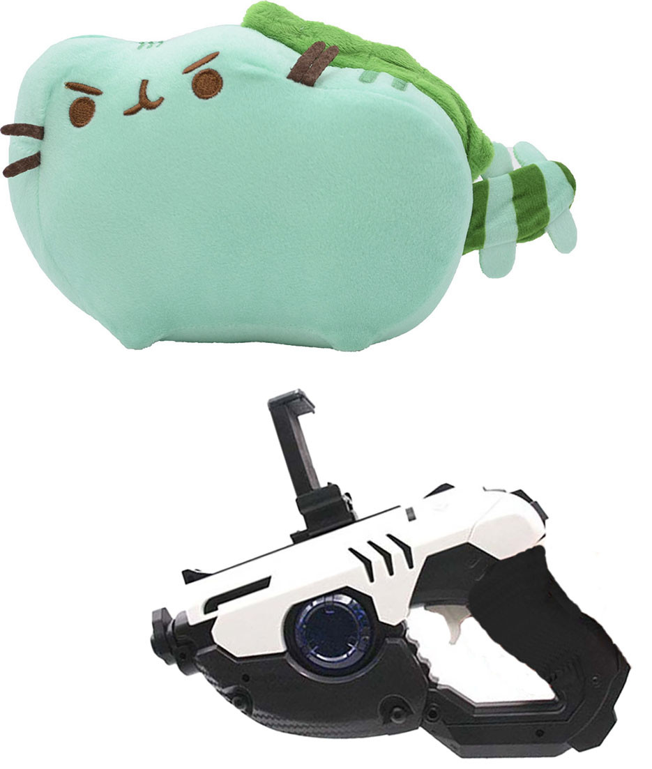 Комплект Мягкая игрушка кот дракон Pusheen cat и Пистолет дополненной реальности Белый (vol-676)
