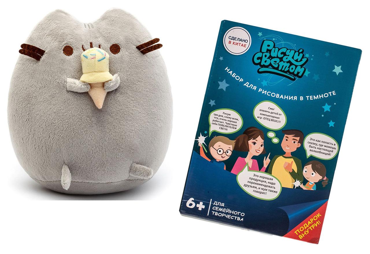 Мягкая игрушка кот с мороженым Pusheen cat + Подарок (n-684)